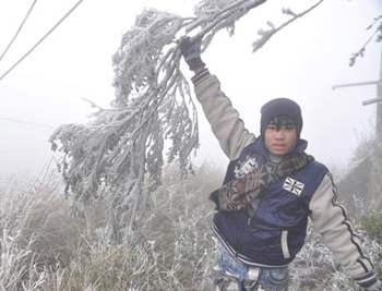 Во Вьетнам пришла зима, образовались снежные заносы.
