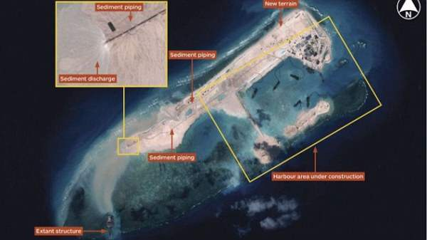 China building airstrip-capable island on Fiery Cross Reef