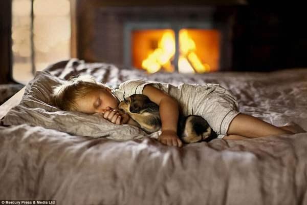 Щенок и ребенок в непробудном сне