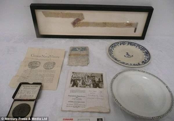 Изображенные предметы из злополучной Лузитании, которые продали на аукционе за более чем £ 500