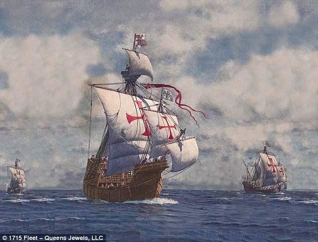 Испанский корабль с монетами затонул в  1715 году, попав в шторм.