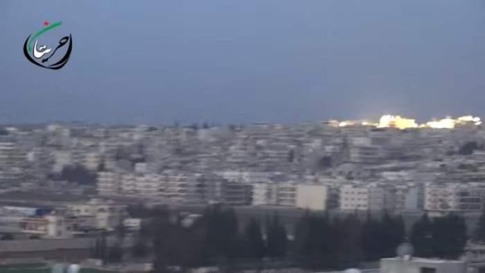 Нанесение авиаудара по Алеппо касетными боеприпасами (Видео)