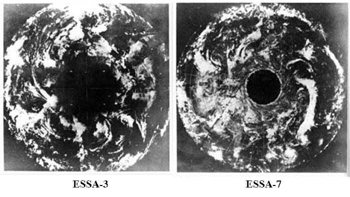 Снимки Северного полюса, сделанные спутниками ESSA-3 и ESSA-7