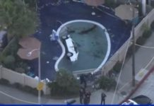 упал в бассейн