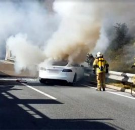 Tesla Model S пожар