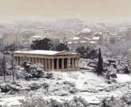 Греция снег