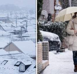 япония снег