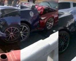 Массовая авария Ford Mustang