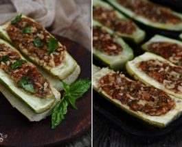 Запеченные кабачки с мятно-ореховым соусом
