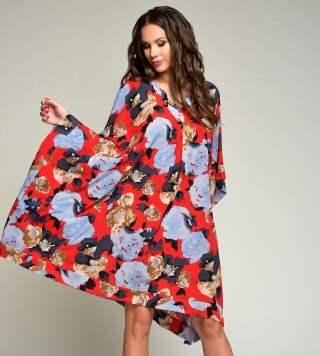 Летнее платье-туника, красный на синем