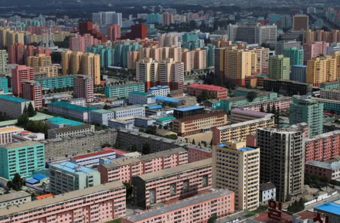 Жилой район в Пхеньяне, Северная Корея.