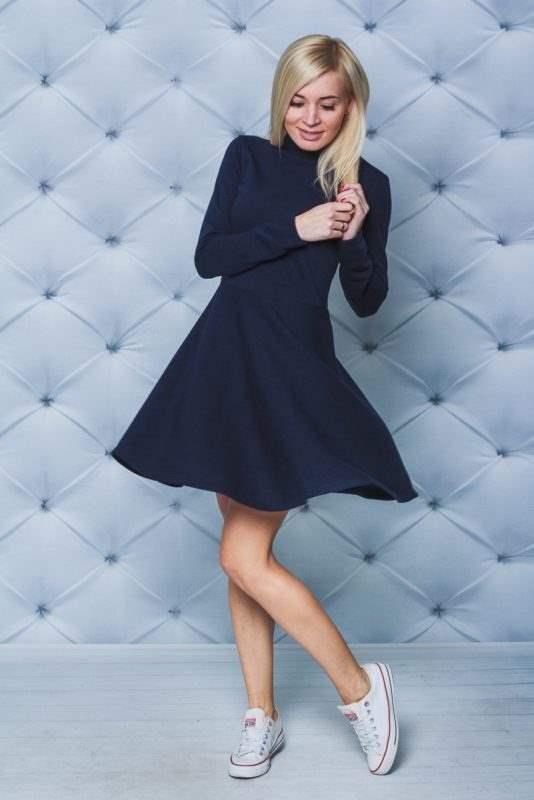 Платье короткое с воротником стойкой т-синее в магазине Versal.ua
