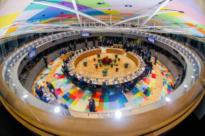 Зал заседаний европейских лидеров в Брюсселе.