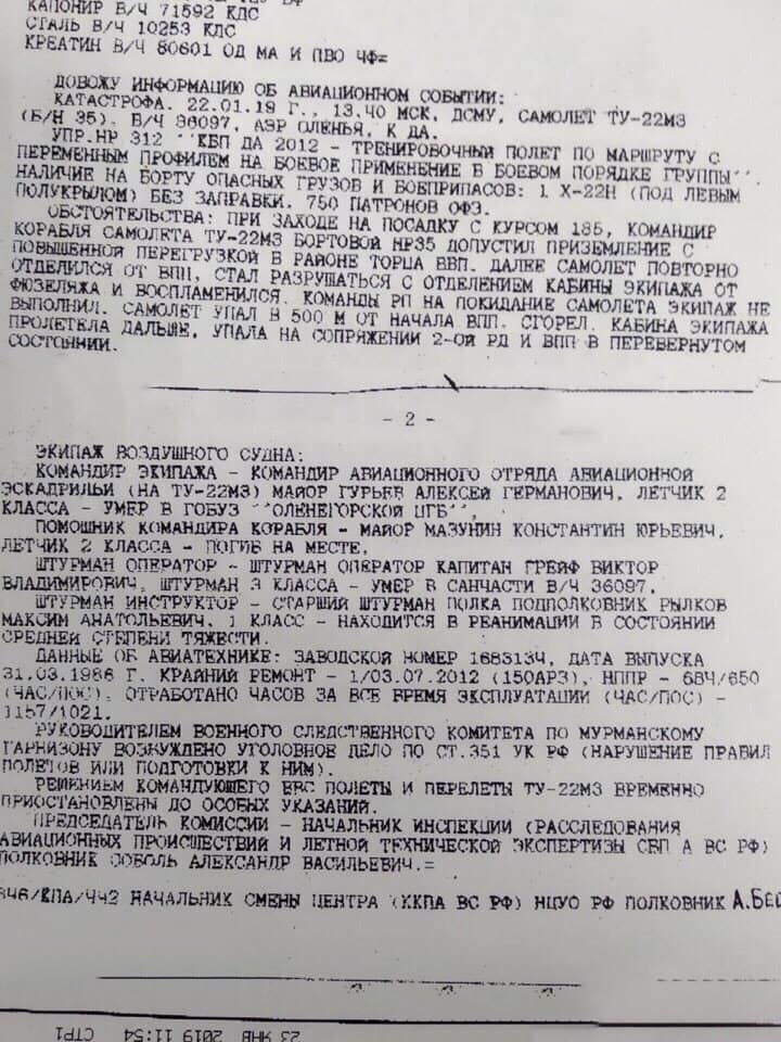 Катастрофа бомбардировщика Ту-22М3