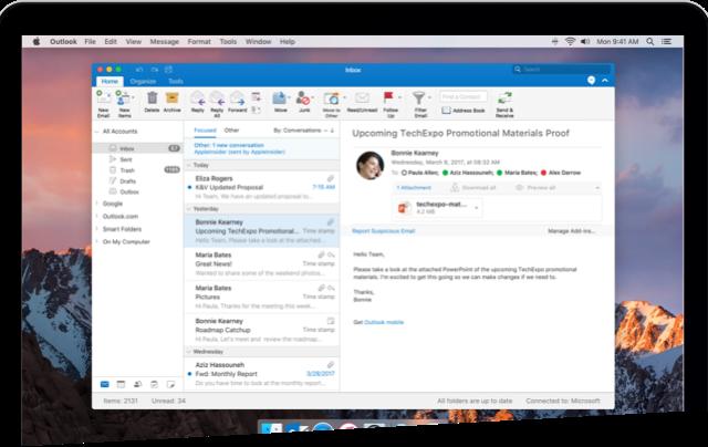 ОсобенностиMicrosoft Outlook Mac 2019