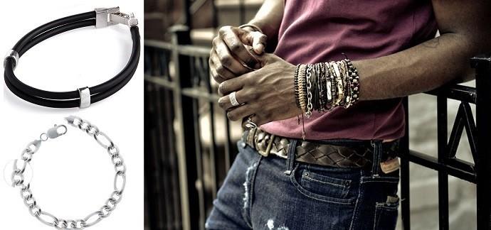 Серебряные браслеты на мужской руке