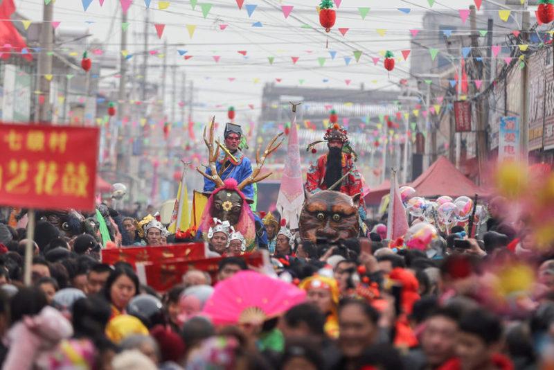 Момент фестиваля китайских фонариков