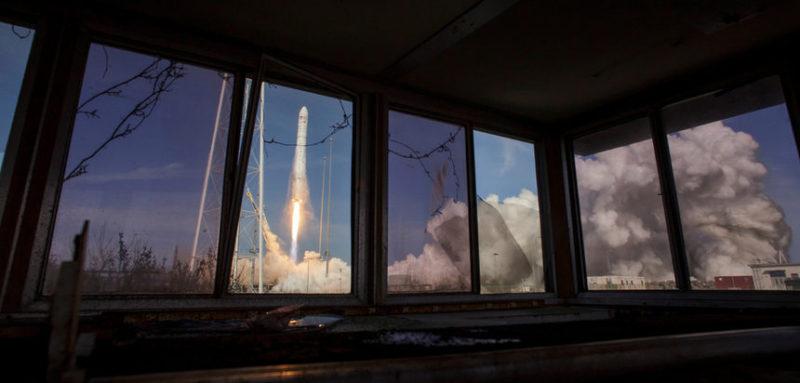 Момент запуска космического корабля Cygnus
