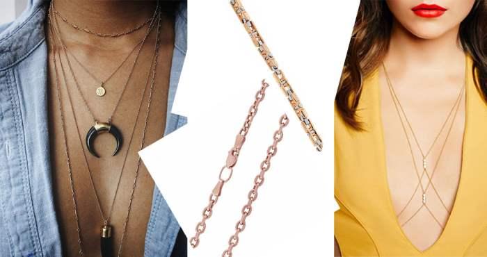 Золотые цепочки на женской шее