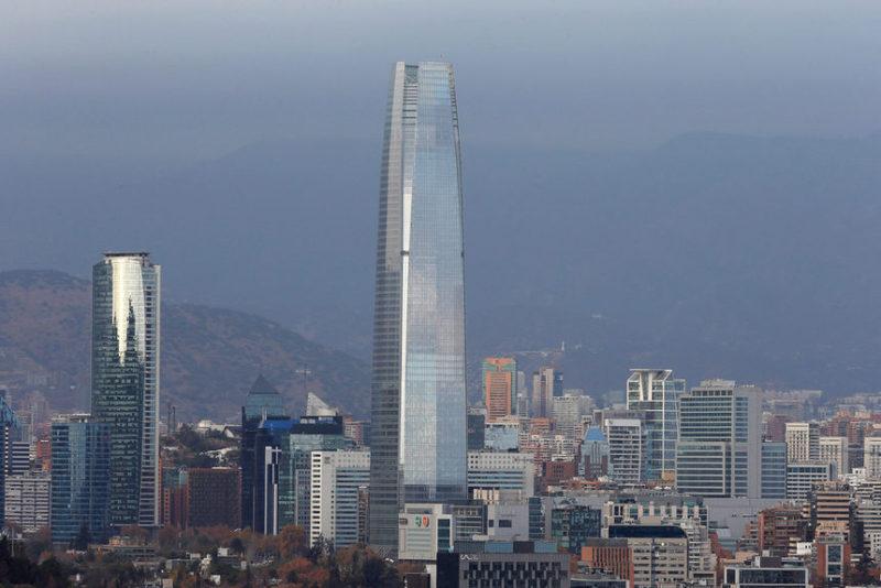 Вид на город Сантьяго, Чили.