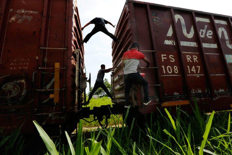 Мигранты едут на грузовом поезде
