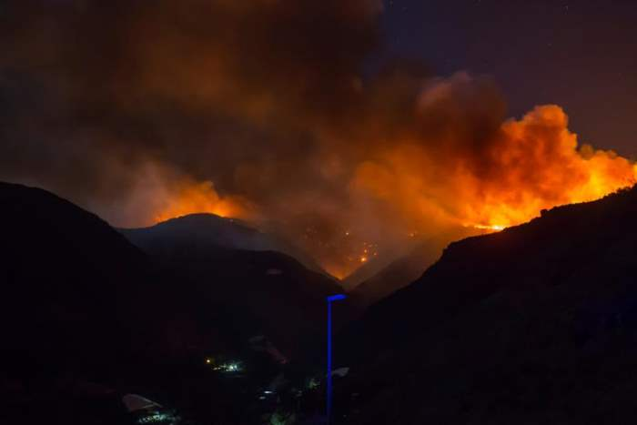 Огонь и дым от лесного пожара