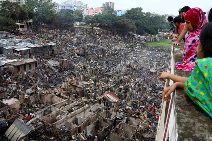 Сгоревшая часть пригорода Дакки
