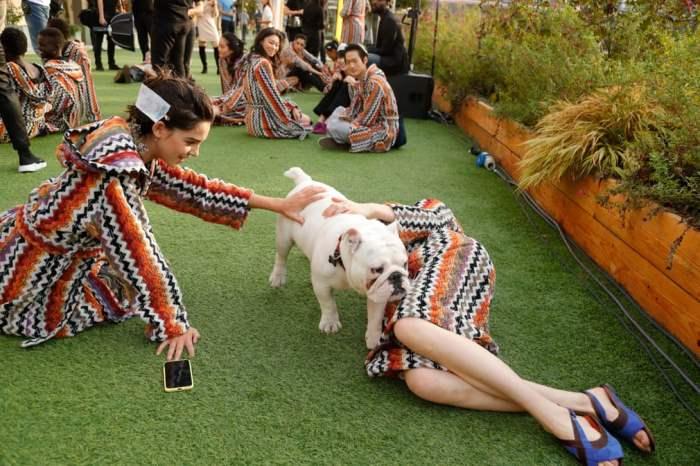 Модели играют с собакой