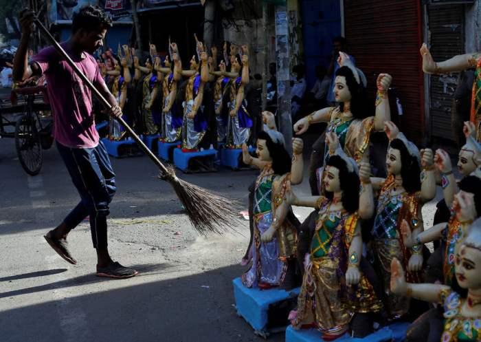 Перед началом индуистского религиозного праздника