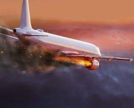 самолет загорелся