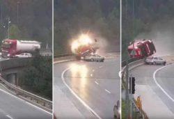 Легковушка столкнула бензовоз с моста (ВИДЕО)