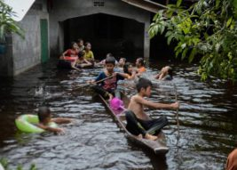 Дети катаются на лодке возле дома