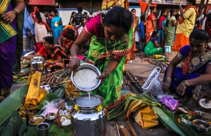 Тамильская женщина готовит понгал