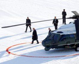 Трамп выходит из вертолета