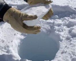 Ученые бросили кусок льда