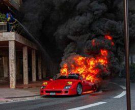 Ferrari F40,сгорела,пожар