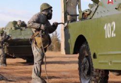 Российские военные из подразделений радиационной, химической и биологической защиты проводят учения