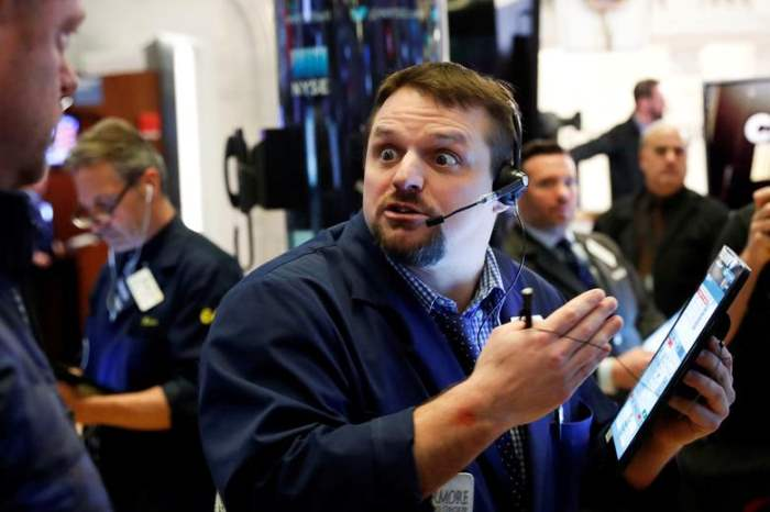 Трейдер в Нью-Йоркской фондовой бирже