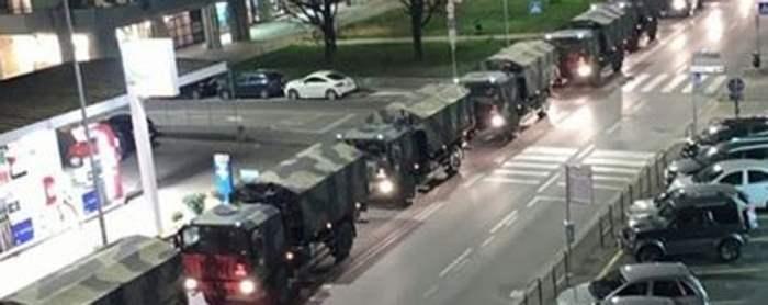 колонны военных грузовиков