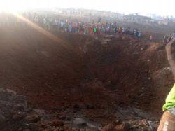 Огромный метеорит оставил кратер в Акуре, Нигерия.
