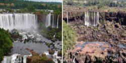 Водопады Игуасу, крупнейшие водопады в мире, почти полностью высохли