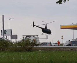 В Польше пилот посадил вертолет на заправке