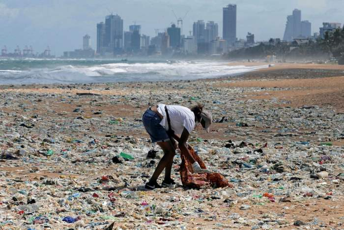 Волонтер собирает мусор