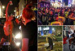 Пьяные англичане заполнили улицы после окончания карантина