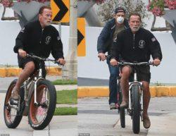 72-летний Арнольд Шварценеггер катался на велосипеде по западному Лос-Анджелесу