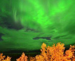 Абиско,Швеция,зеленые облака,Северное сияние,