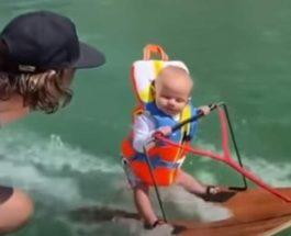шестимесячный ребенок,водные лыжи,
