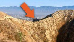 Jeep Wrangler завис на горе и запросил эвакуацию