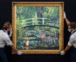 Моне, Японский мост, Бэнкси, картина,
