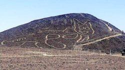 Огромная кошка найдена в пустыне среди линий Наска в Перу, геоглиф 200–100 гг. до н. э.